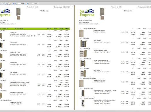 2 Impresión tipo del presupuesto con precios, descuentos e imagenes