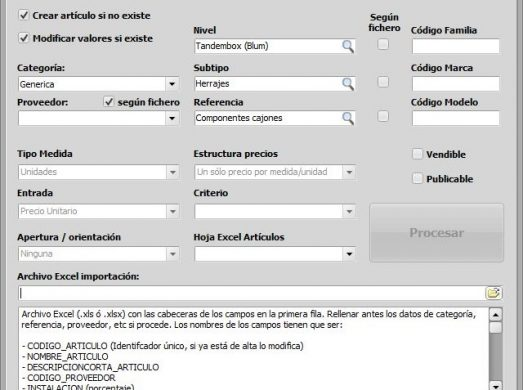 Importar articulos desde Excel a CTMobl